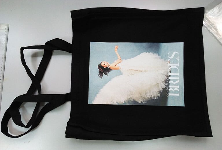 Black sample bag from UK customer was printed by dtg textile printer
