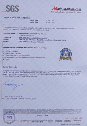 SGS& WER Trademark registration certificate